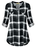 Baikea Plaid Tunic, Ladies Henley V Neck Cuffed Sleeve Tops for Women to Wear with Leggings Curved Hemline Fake Pockets Versatile Blouse Business Casual Clothes Black L