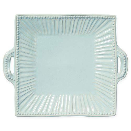 (Vietri Incanto Stone Aqua Stripe Square Handled Platter)