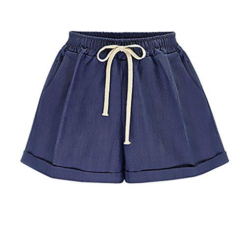 Pantaloncini Donna Estivi Elegante Moda Coulisse Casuali Solido Shorts Sciolto Ragazza Abbigliamento Taglie Forti Corta Pantaloni Woman Darkblue