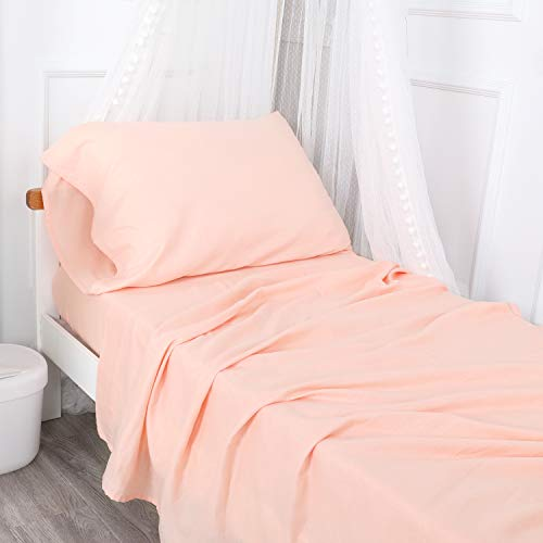 Designthology (U.S.) 100% Cotton Muslin 3-Piece Fitted Sheet and Pillowcase Toddler Sheet Set, Peachy Pink - Soft Breathable Toddler Bedding Set, Tailored for Boys and Girls