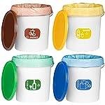 MARKESYSTEM–BOLSA-DE-BASURA-DE-PLASTICO-RECICLADO-PARA-CUBOS-RECICLAJE-Pack-4-Rollos-de-colores-diferentes-25-Bolsas-por-Rollo-Total-100-bolsas-de-30-Litros