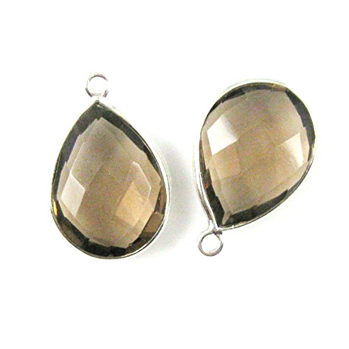 Gemstone Pendant - Sterling Silver - 13x18mm Faceted Pear Shape - Smokey Quartz (Sold Per 2 ()