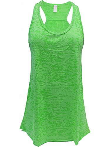 Epic MMA Gear Flowy Racerback Tank Top, Burnout Colors, Regular and Plus Sizes (XL, Green)
