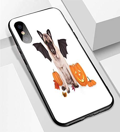 iPhone X/XS Ultra-Thin Phone case Pug Dog Dressed up as bat for Halloween with Funny Pumpkin Lantern Anti-Drop Anti-Slip Soft Convenient Protective Shell ()