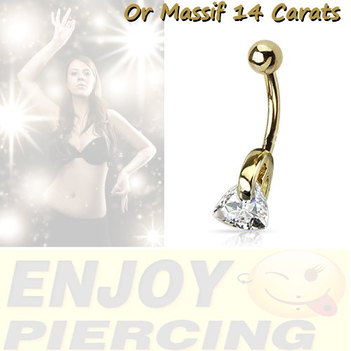 Piercing Nombril Or Massif 14 Carats Or Jaune Cristal Blanc