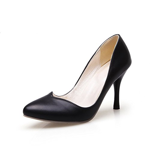 Stilettos Black Women's On Toe Pointed Spikes Pumps Solid Pull Shoes Closed WeiPoot Pu 607qFcw7d