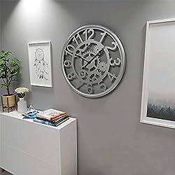 50cm/20inch 3D Vintage Wall Clock Iron Skeleton Frameless Silent Clock Gears Decor Large Round Non-Ticking Quartz Decoration Clocks,Silver