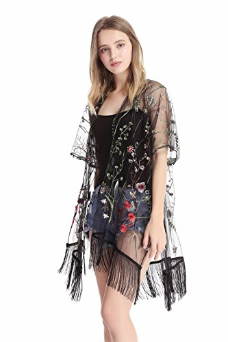 MissShorthair Women's Light Floral Embroid Lace Kimono Cardigan Coverup Blouse Tops
