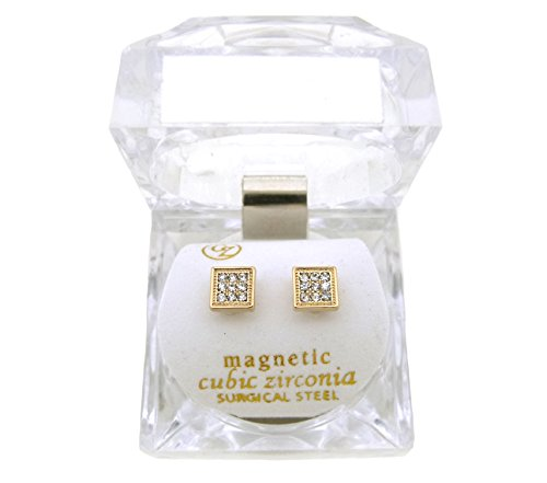 Gold, Silver Tone 6.35 mm Rhinestone Square Shape Magnetic Stud Earring XE1136 (Gold (Hip Hop Magnetic Earrings)