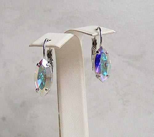Beautiful Aurora Borealis Marquise Crystal Leverback Earrings Made With Swarovski Gift Idea RP