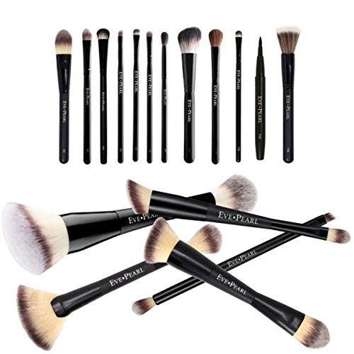 EVE PEARL 18 Pcs Brush Blowout Set Foundation Concealer Contour Blending Powder Eyes Must Have Makeup Brushes Kit Synthetic Cruelty Free Hypoallergenic by EVE PEARL (Image #2)