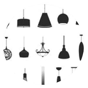 alfombrilla de ratón Conjuntos de lámparas silueta 2, crear por el vector - ronda - 20cm