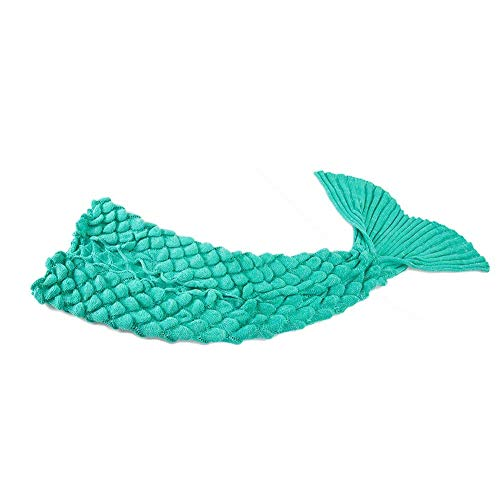 Mermaid Tail Blanket for Kids and Adult,Hand Crochet Snuggle Mermaid,All Seasons Seatail Sleeping Bag Blanket by Jr.White (Adult Size-Scale-Green)