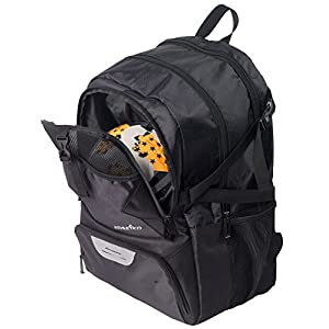Athletico National Soccer Bag - Backpack for Soccer, Basketball & Football Includes Separate Cleat and Ball Compartments (Black)