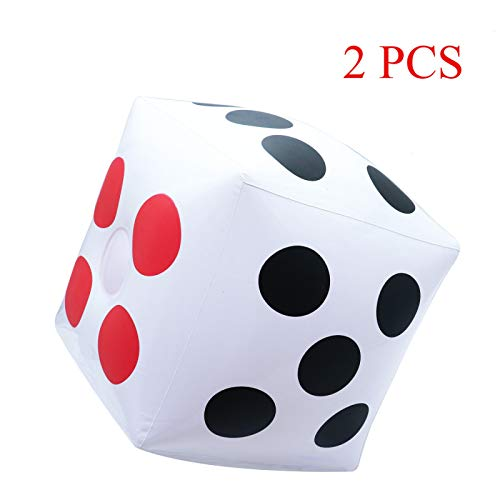 (Timoo Jumbo Dice 2 PCS Inflatable Dice 13'' Giant Dice for Game Pool Toy Party Favor)