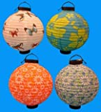 4 Battery-operated, Assorted Designs Chinese/japanese Paper Lanterns 8'' Diameter
