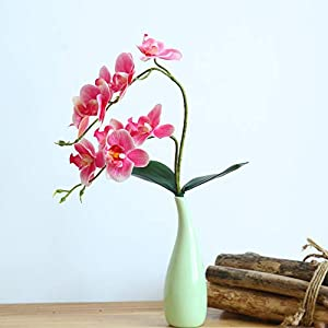 "cn-Knight Artificial Flower 3pcs 18"" Real Touch Butterfly Orchid with Leaves Gel Coated Lifelike Phalaenopsis Moth Orchid for Wedding Home Office Décor Baby Shower Party Centerpieces(Pink) 4"