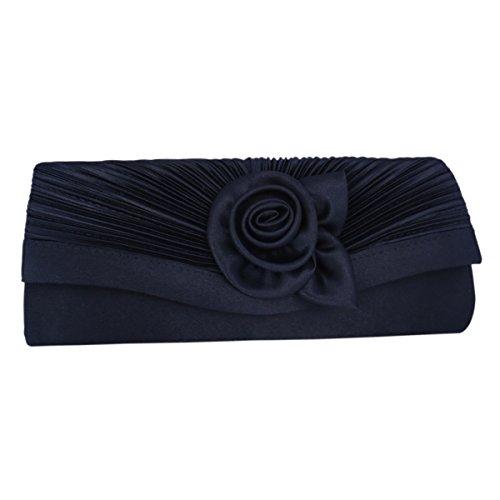 Dinner Blue Vintage Clutch Flower Womens Satin Bag Navy Pleated Evening Adoptfade xwvqgT0S7