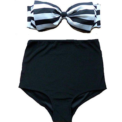 FY Mujeres Bikini Conjunto Retro Floral Traje de Baño de Cintura Alta Trajes de Baño Nadar Halter Empujar Hasta Traje de Baño 8