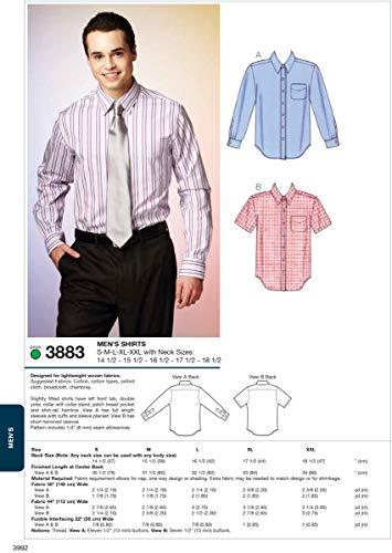 Kwik Sew K3883 Shirts Sewing Pattern, Size S-M-L-XL-XXL with Neck Sizes 14 1/2-15 1/2-16 1/2-17 1/2-18 1/2