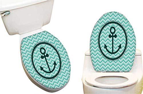 Toilet seat Sticker Horizontal Zig Zag Pattern Background Anchor Image in Circle Shape Medallion Toilet Seat Sticker Vinyl Toilet Lid Decal Decor - Seat Anchor Medallion
