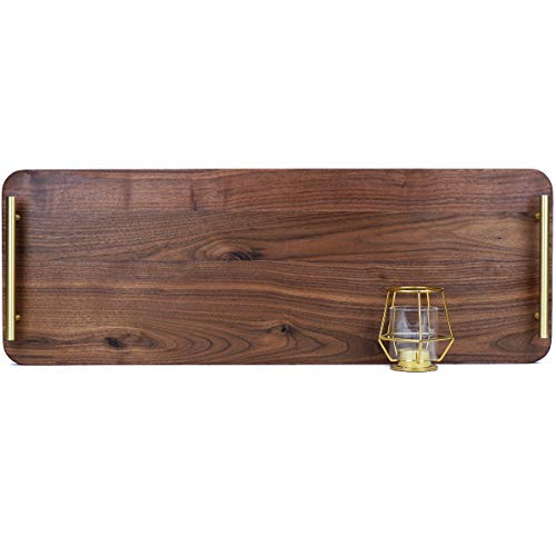 MAGIGO 28 x 10 Inches Extra Large Rectangle Flat Black Walnut Wood Ottoman Tray with Pure Copper Handles/Extra Long Wooden Serving Platter, Serve Tea, Coffee or Cheese and Charcuterie