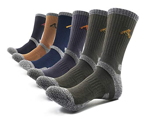 Peace of Foot Mens 6(5+1) Pairs Multi Performance Outdoor Sports Trekking Climbing Camping Hiking Crew Socks (Brown 1, Blue 1, Black 1,Charcoal 1, Olieve 2, Mens shoe size - Socks Shoe Crew