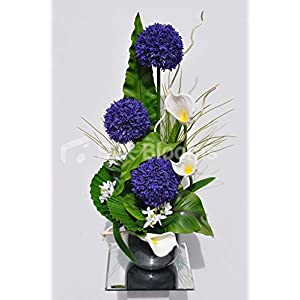 Artificial Purple Silk Allium and Calla Lily Flower Arrangement w/White Mitsumata and Leaves 109