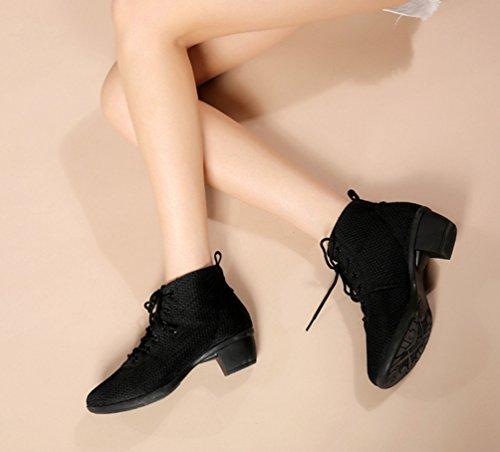 Chaussures Noir Mesh Danse Lacet Femme Décontractée Respirant Talon De YouPue Souples Square Moyen Chaussures Fitness Semelles BZwYqIxB8