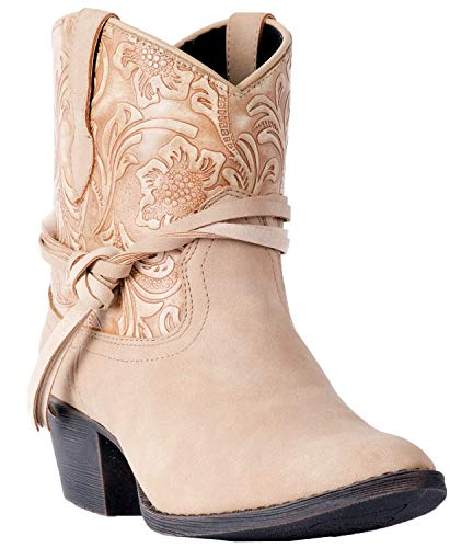 Dingo Women's Floral Tooled Knotted Strap Booties Round Toe Tan 8.5 M