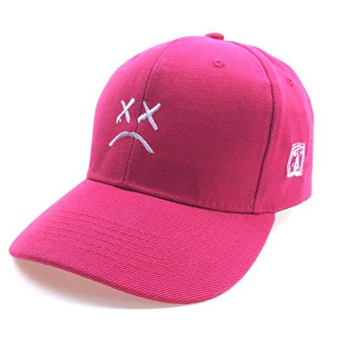 Home Fashion DIY Sad Boys Adjustable Hat Crying Face Embroidery Baseball Cap Dad Hat Hip Hop Cap Black (Rose Red)