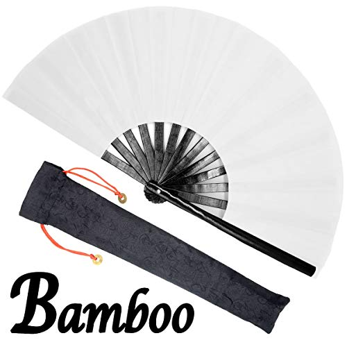 OMyTea Bamboo Large Rave Folding Hand Fan for Men/Women - Chinese Japanese Kung Fu Tai Chi Handheld Fan with Fabric Case - for Performance, Decorations, Dancing, Festival, Gift (Black & White) ()