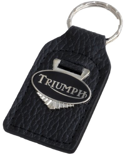 Triumph Motorcycle Leather and Enamel Key Ring Key Fob