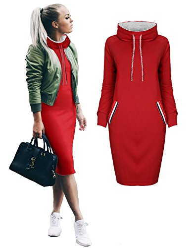Tron Outfit Sexy (Longwu Women's Hoodie Jacket With Hat Midi Sweatshirts Long Sleeve Shirt Comfortable fabrics Pullover Dress NO POCKET Red)