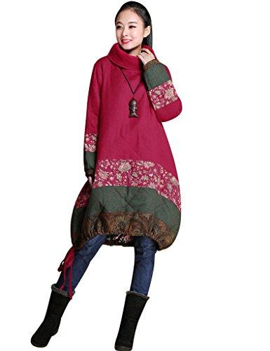 D'hiver Rouge Haut Col Manteau Youlee Femmes Ourlet Drawstring 5fOR8qw