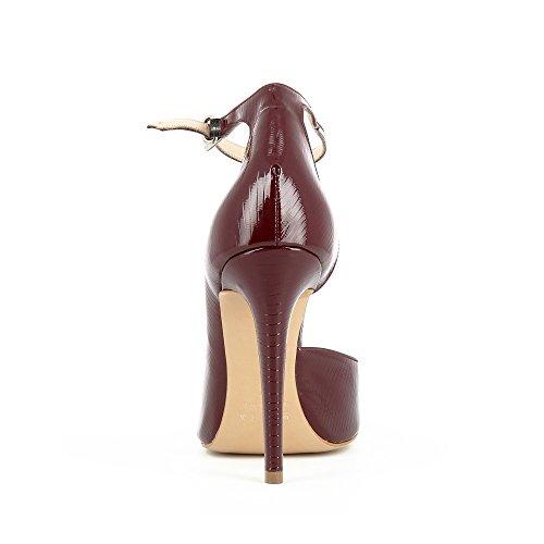 LISA Damen Pumps halboffen Lack mit Prägung Bordeaux