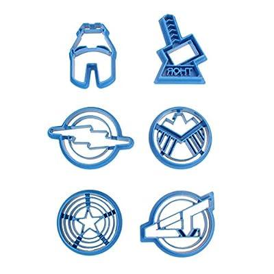 Drill Bit 8-6pcs Set Super Hero Series The Avengers Cookie Cutter Thor Iron Man Flash Captain America Icons - Jack Patrol Grid Cutters Goldfish Tooth Arrow Kingdom Variety Rings Eiffel Coffe