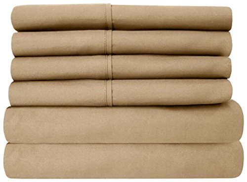 Bhoomi Impex Elegant Bedding 4 Pcs Sheet Set 400 Thread Count 100% Percale Cotton With 18 Inch Deep Pocket Stain Resistant, Durable And Easy To Use (King Size, Taupe Solid)