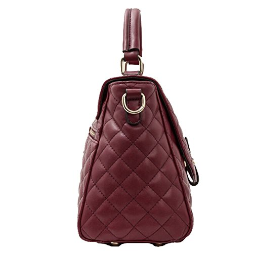 Win8Fong - Bolso al hombro para mujer rojo vino