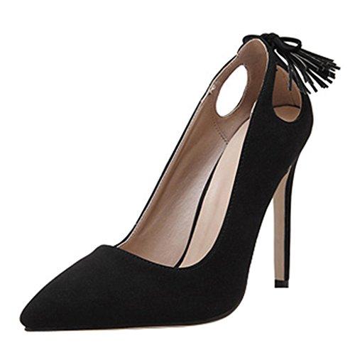 Eclimb Femmes Mode Classique Bout Pointu Chaussures À Talons Hauts Noir