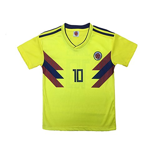 bfb814cf7 KID BOX Colombia 2018 James Rodriguez  10 Home Soccer Kids Jersey   Short  Set Youth