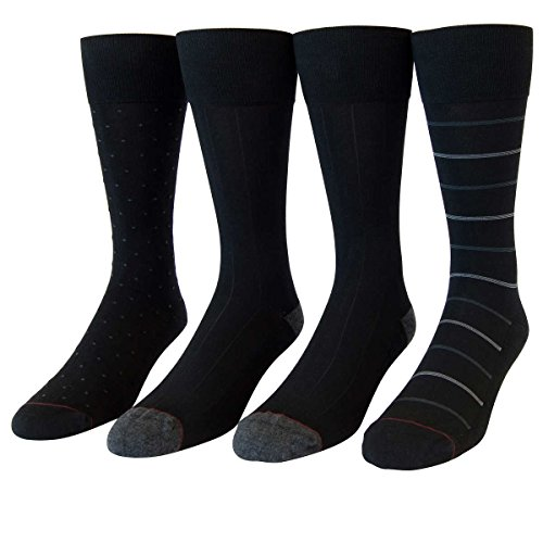 Kirkland Signature Men's Cushioned Dress Sock 4-pair (6.5-12, Black Pattern Pack)