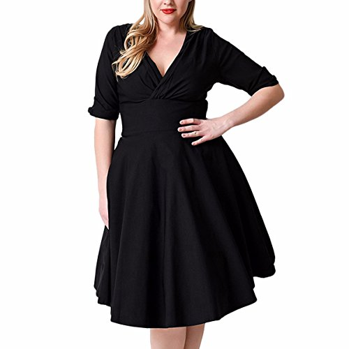 Button Party Dress In Black (Samtree Women's Vintage 1950s Style V Neck Plus Size Cocktail Party Swing Dress(UK 18(US 14 Plus),Black))