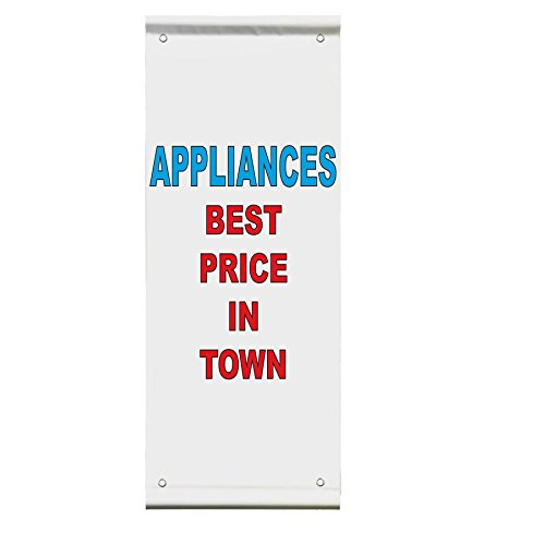 Appliances Best Price In Town Red Blue Double Sided Vertical Pole Banner Sign 36 in x 48 in w/ Pole Bracket by Fastasticdeals