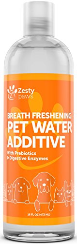Water Additive for Dogs & Cats - Pet Dental Care for Bad Breath and Healthy Teeth - Premium Freshener with Digestive Enzymes & Prebiotics - 16 FL OZ