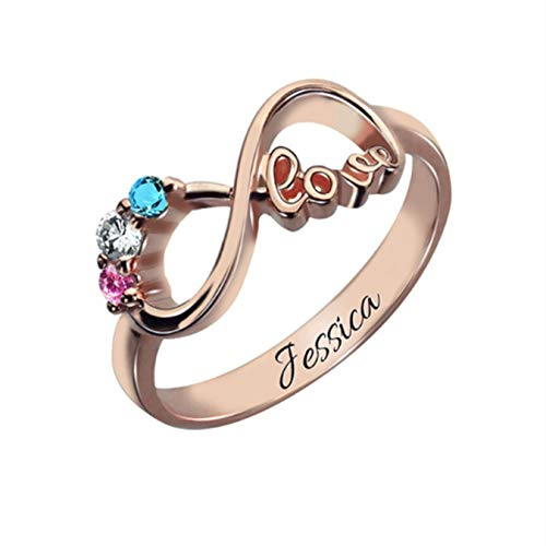 (Personalized Mother's Silver Rings Birthstone Infinity Ring Engraved Name Ring)