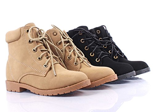 Fashion Militry Combat Style Girls Lace Up Slip-On Kids Ankle Boots Shoes Youth Size