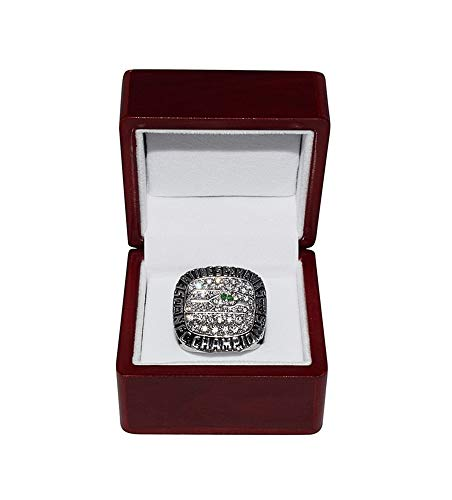 SEATTLE SEAHAWKS (Russell Wilson) 2014 NFC WORLD CHAMPIONS Rare Collectible Replica Silver NFL Football Championship Ring with Cherrywood Display Box (Football Seahawks Championship)