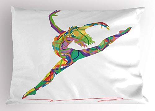 - Lunarable Dance Pillow Sham, Abstract Figure of a Dancer with Lively Colored Random Lines Jumping Ballerina Print, Decorative Standard King Size Printed Pillowcase, 36 X 20 Inches, Multicolor