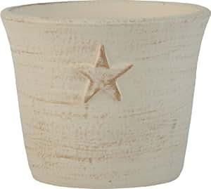 Ivyline - Maceta (17 cm, diseño de estrellas), color blanco y dorado